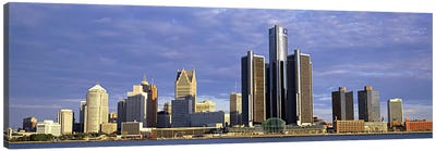 Skyscrapers at the waterfront, Detroit, Michigan, USA #2 Canvas Art Print