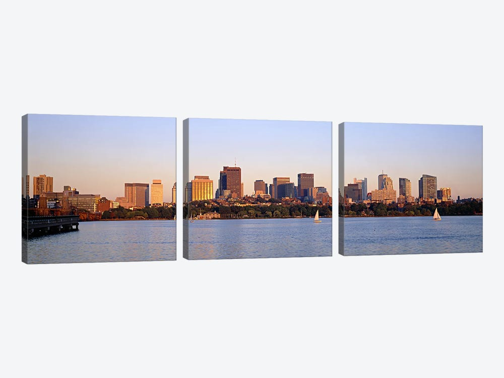 Skyscrapers at the waterfront, Boston, Massachusetts, USA 3-piece Art Print