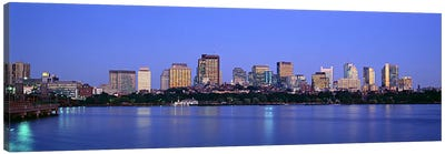 Buildings at the waterfront lit up at night, Boston, Massachusetts, USA Canvas Art Print