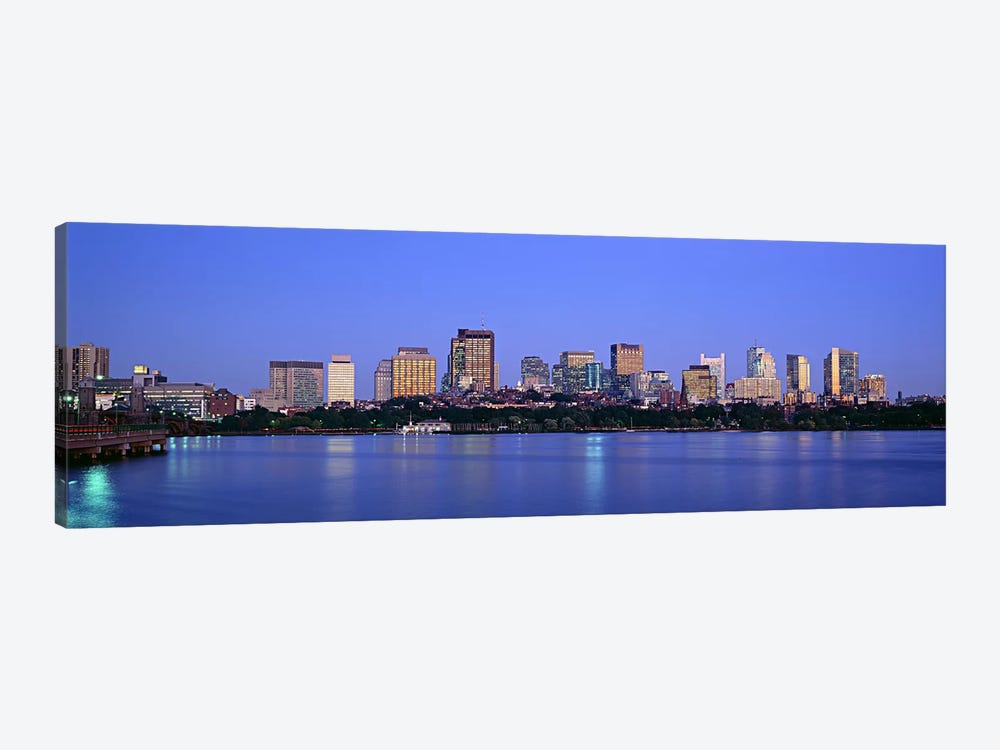 Buildings at the waterfront lit up at night, Boston, Massachusetts, USA by Panoramic Images 1-piece Canvas Artwork