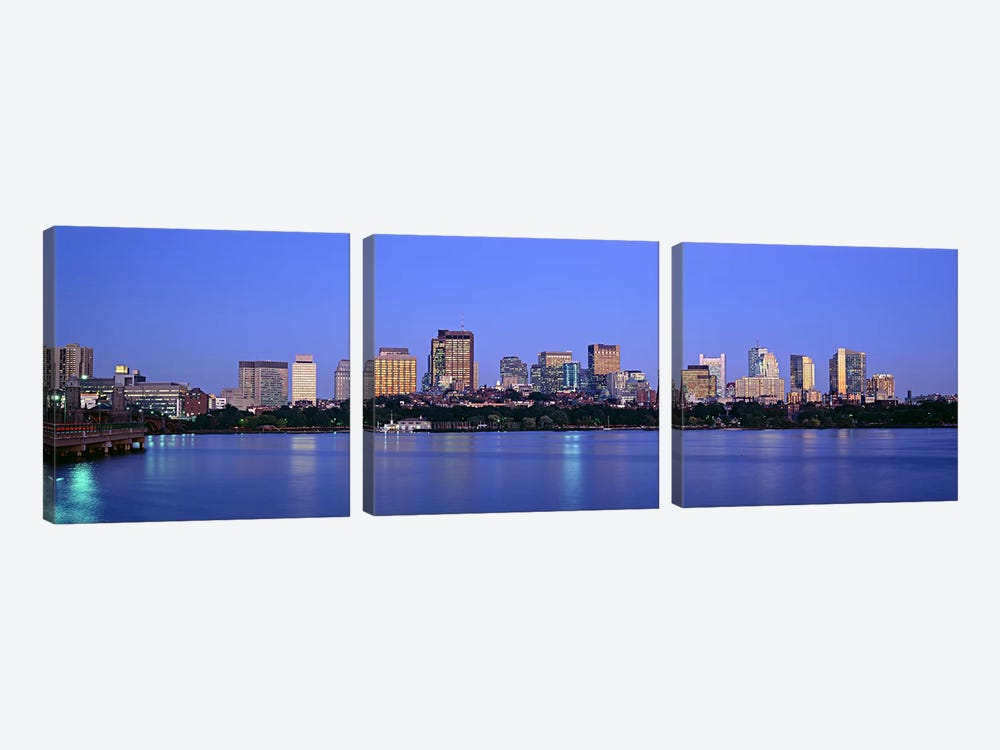 Buildings at the waterfront lit up at night, Boston, Massachusetts, USA by Panoramic Images 3-piece Canvas Artwork