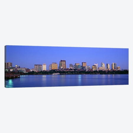 Buildings at the waterfront lit up at night, Boston, Massachusetts, USA Canvas Print #PIM6017} by Panoramic Images Canvas Artwork