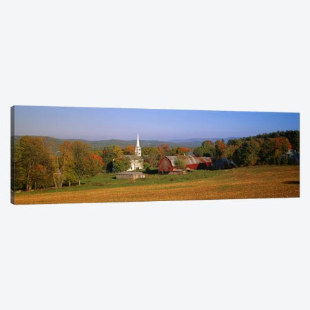 Church and a barn in a field, Peacham, Vermont, USA Canvas Print #PIM6019} by Panoramic Images Canvas Art Print