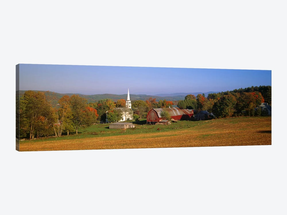 Church and a barn in a field, Peacham, Vermont, USA by Panoramic Images 1-piece Canvas Artwork