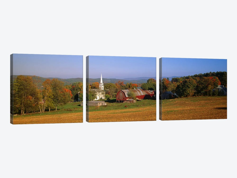 Church and a barn in a field, Peacham, Vermont, USA by Panoramic Images 3-piece Canvas Art