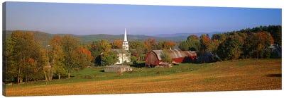 Church and a barn in a field, Peacham, Vermont, USA Canvas Art Print