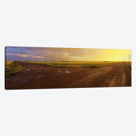 Cloudy Sunset Over A Country Landscape, Edmonton, Alberta, Canada 3-Piece Canvas #PIM6023} by Panoramic Images Canvas Art