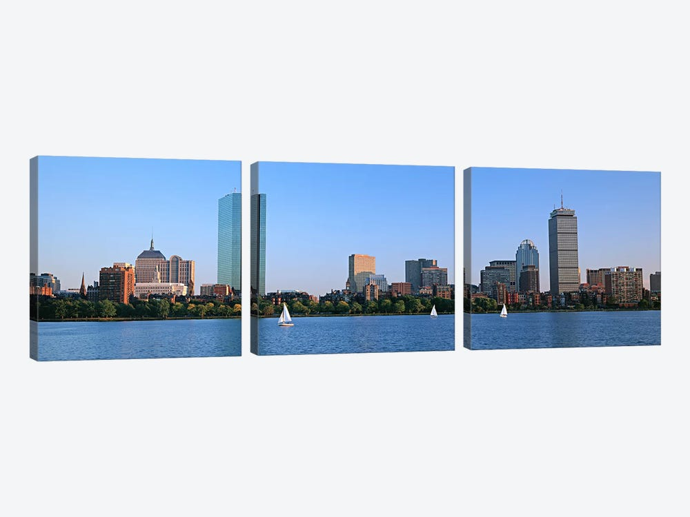 Buildings at the waterfront, Back Bay, Boston, Massachusetts, USA by Panoramic Images 3-piece Canvas Art Print
