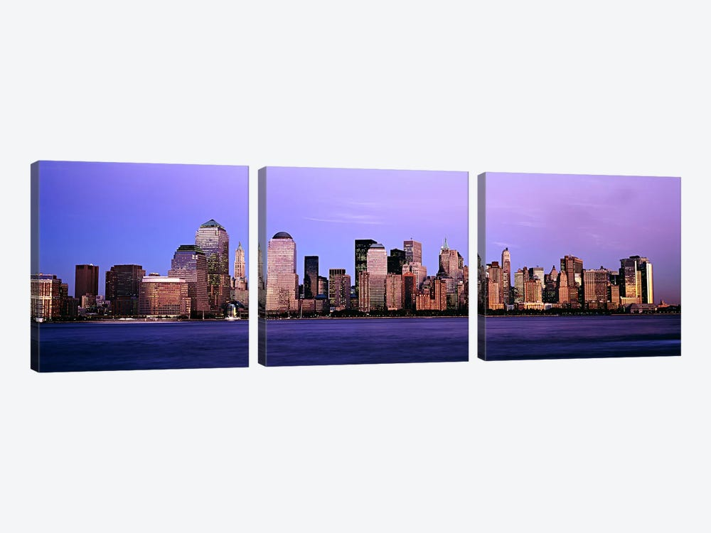 Buildings at the waterfront, Manhattan, New York City, New York State, USA #2 by Panoramic Images 3-piece Canvas Artwork