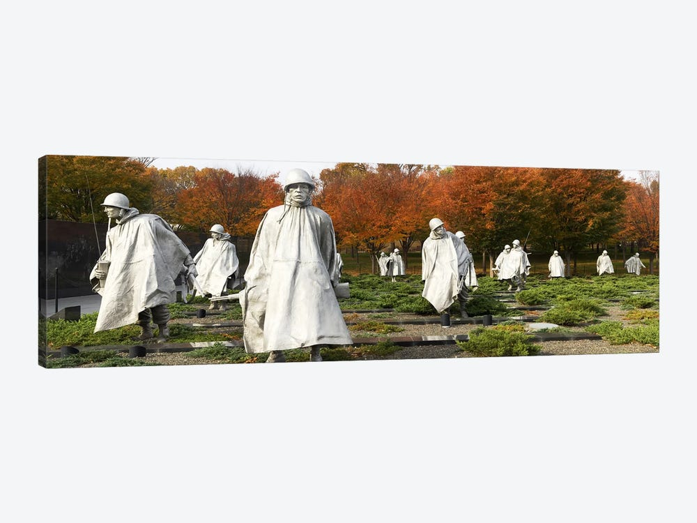 Statues of army soldiers in a park, Korean War Memorial, Washington DC, USA by Panoramic Images 1-piece Canvas Print