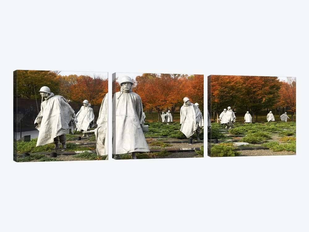 Statues of army soldiers in a park, Korean War Memorial, Washington DC, USA by Panoramic Images 3-piece Art Print
