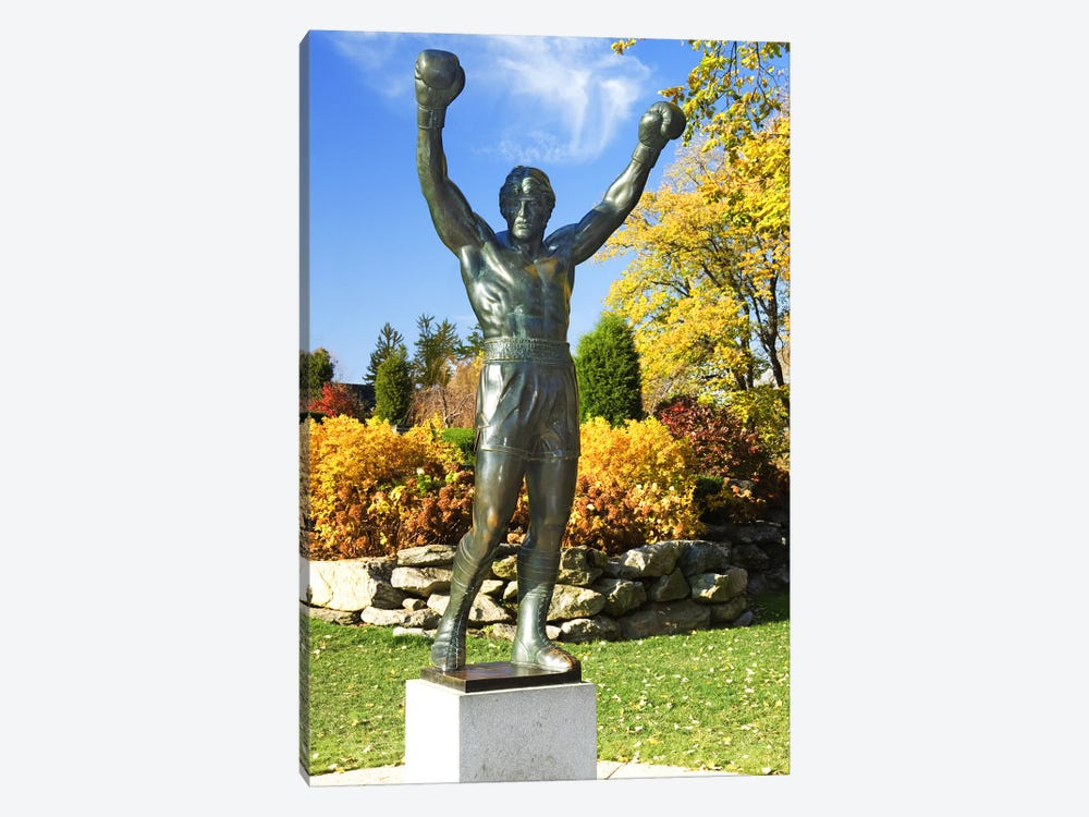 Statue of Rocky Balboa in a park, Philadelphia Museum of Art, Benjamin Franklin Parkway, Fairmount Park, Philadelphia, Pennsylva by Panoramic Images 1-piece Canvas Art Print