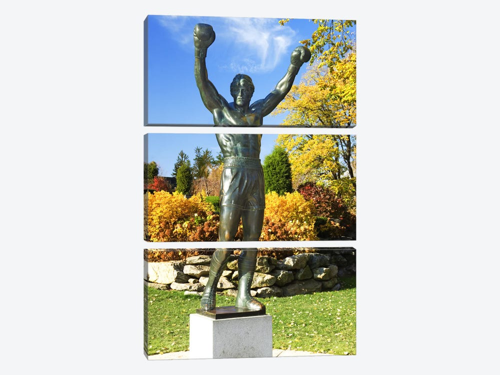 Statue of Rocky Balboa in a park, Philadelphia Museum of Art, Benjamin Franklin Parkway, Fairmount Park, Philadelphia, Pennsylva by Panoramic Images 3-piece Canvas Art Print