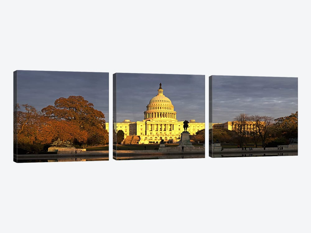 Pond in front of a government building, Capitol Building, Washington DC, USA by Panoramic Images 3-piece Canvas Artwork