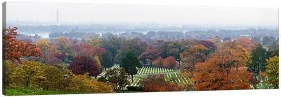 High angle view of a cemetery, Arlington National Cemetery, Washington DC, USA Canvas Art Print