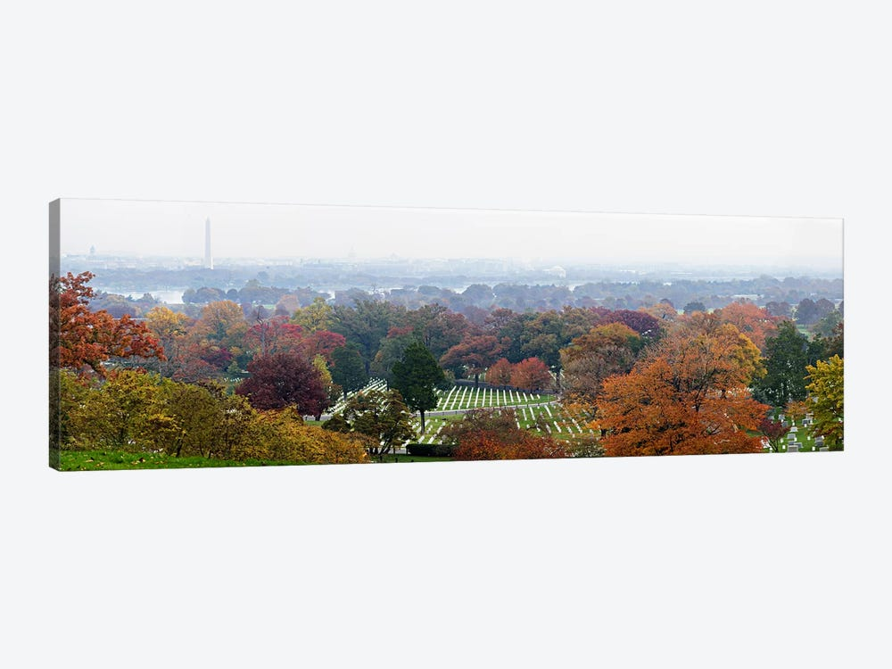 High angle view of a cemetery, Arlington National Cemetery, Washington DC, USA by Panoramic Images 1-piece Canvas Print