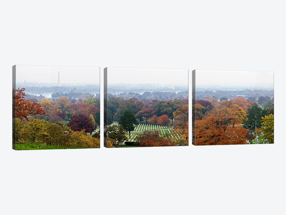 High angle view of a cemetery, Arlington National Cemetery, Washington DC, USA by Panoramic Images 3-piece Canvas Art Print