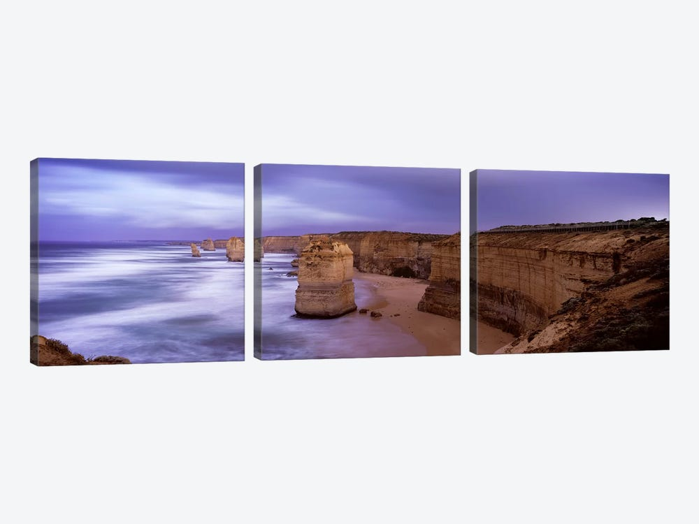 Rock formations in the sea, Twelve Apostles Sea Rocks, Great Ocean Road, Port Campbell National Park, Port Campbell, Victoria, A by Panoramic Images 3-piece Canvas Artwork