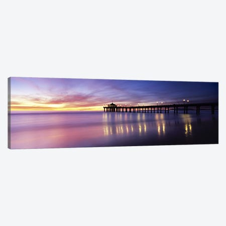 Reflection of a pier in water, Manhattan Beach Pier, Manhattan Beach, San Francisco, California, USA Canvas Print #PIM6042} by Panoramic Images Canvas Wall Art