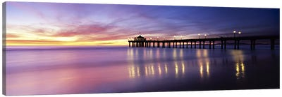 Reflection of a pier in water, Manhattan Beach Pier, Manhattan Beach, San Francisco, California, USA Canvas Art Print