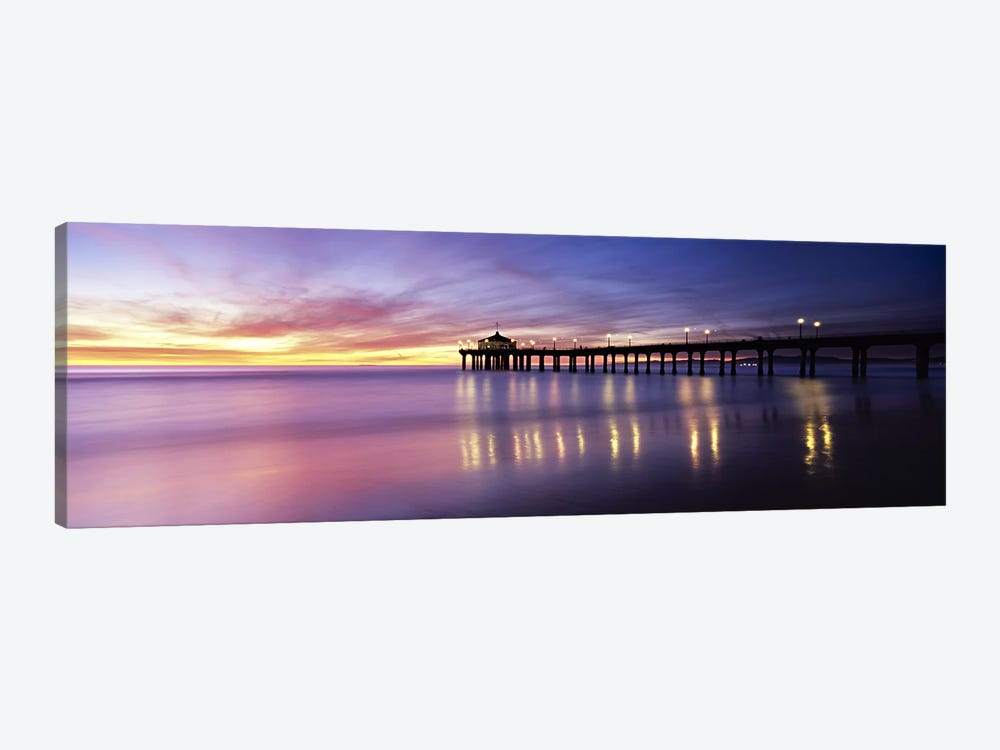 Reflection of a pier in water, Manhattan Beach Pier, Manhattan Beach, San Francisco, California, USA by Panoramic Images 1-piece Canvas Art