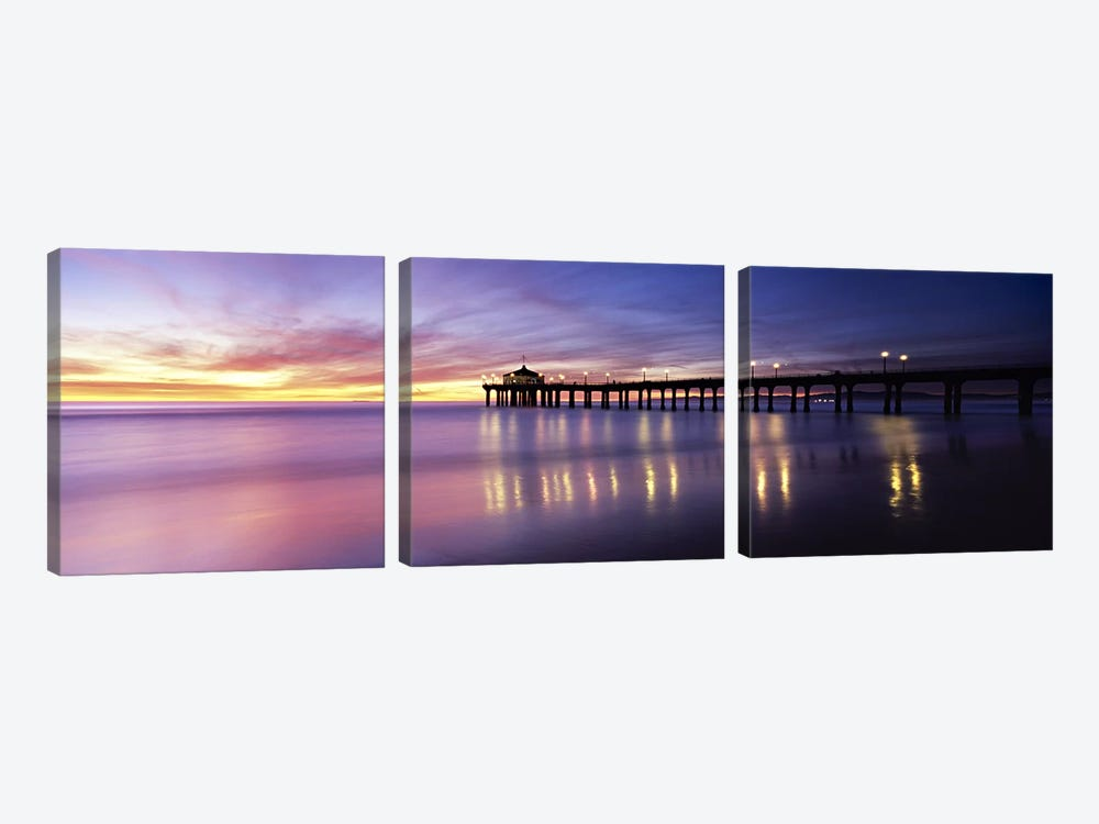 Reflection of a pier in water, Manhattan Beach Pier, Manhattan Beach, San Francisco, California, USA by Panoramic Images 3-piece Canvas Artwork
