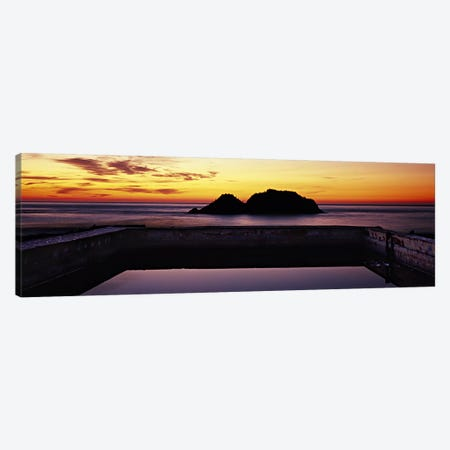 Silhouette of islands in the ocean, Sutro Baths, San Francisco, California, USA Canvas Print #PIM6043} by Panoramic Images Canvas Art