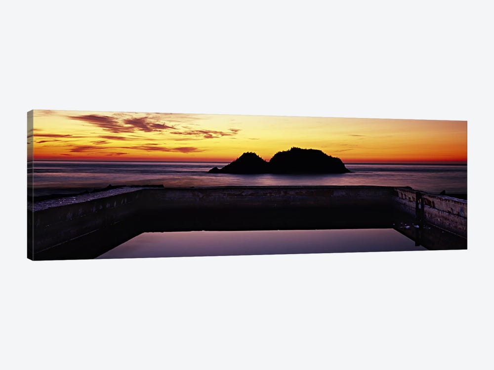 Silhouette of islands in the ocean, Sutro Baths, San Francisco, California, USA by Panoramic Images 1-piece Art Print