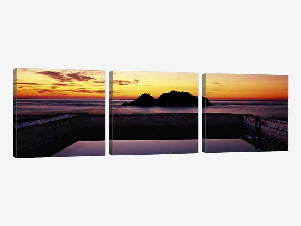 Silhouette of islands in the ocean, Sutro Baths, San Francisco, California, USA by Panoramic Images 3-piece Canvas Art Print