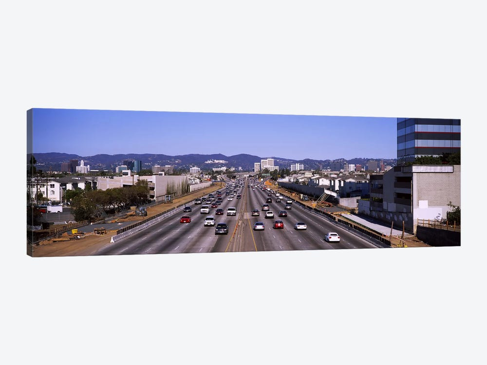 High angle view of cars on the road, 405 Freeway, City of Los Angeles, California, USA by Panoramic Images 1-piece Canvas Wall Art