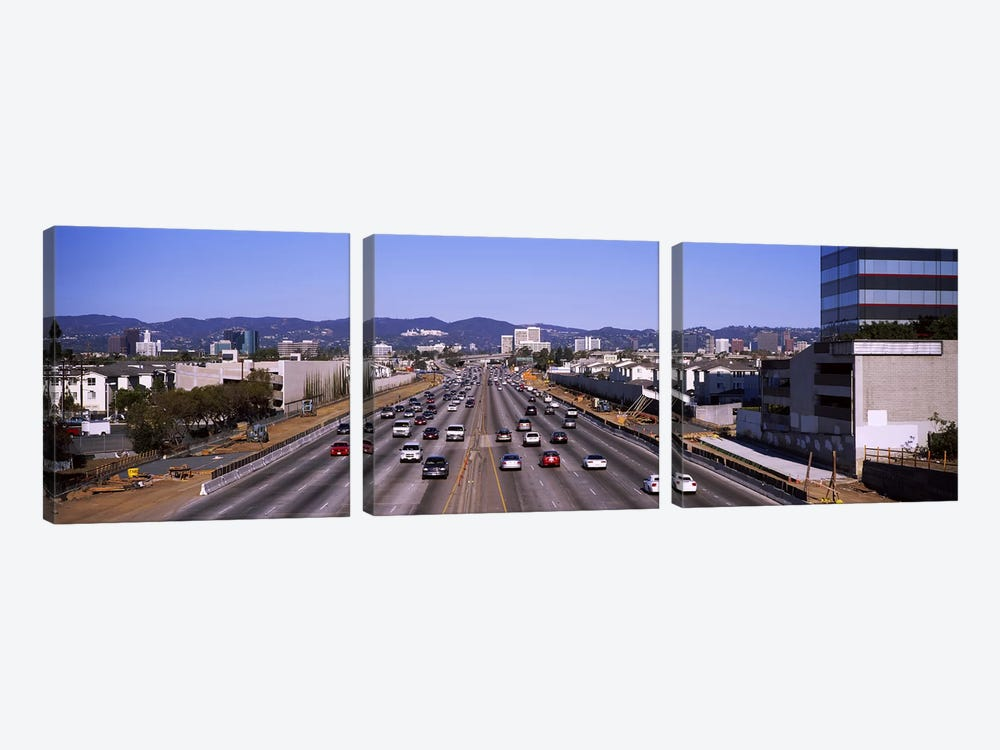 High angle view of cars on the road, 405 Freeway, City of Los Angeles, California, USA by Panoramic Images 3-piece Canvas Wall Art