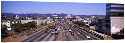 High angle view of cars on the road, 405 Freeway, City of Los Angeles, California, USA Canvas Art Print