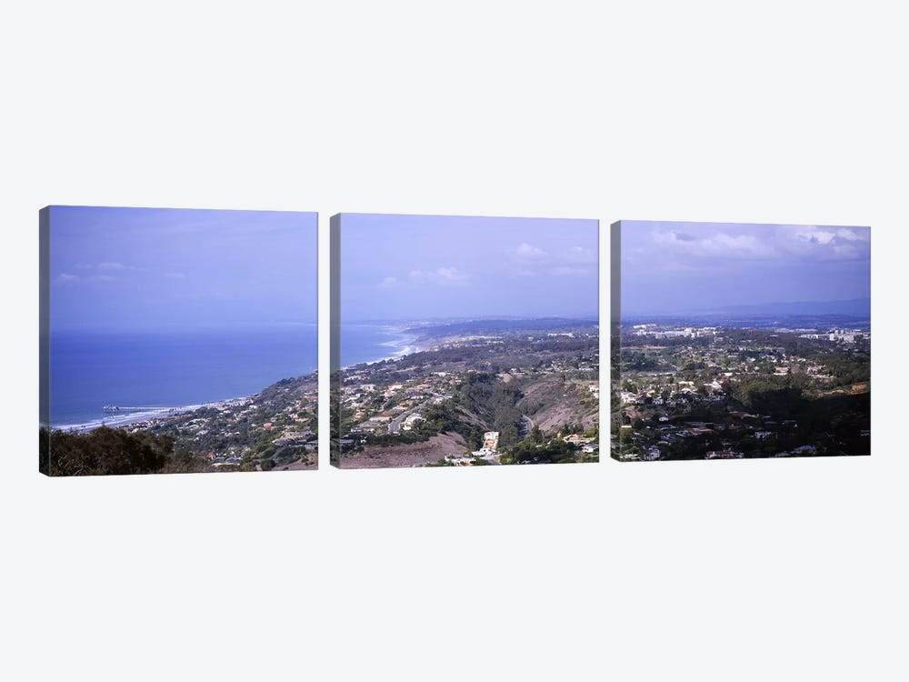High angle view of buildings on a hillLa Jolla, Pacific Ocean, San Diego, California, USA by Panoramic Images 3-piece Canvas Art Print