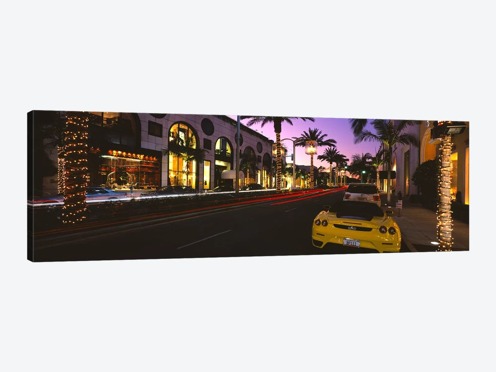 Cars parked on the roadRodeo Drive, City of Los Angeles, California, USA by Panoramic Images 1-piece Canvas Print