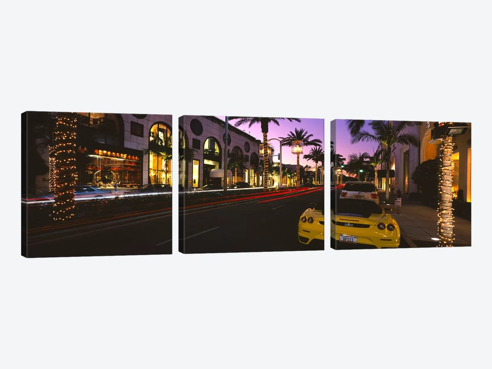 Cars parked on the roadRodeo Drive, City of Los Angeles, California, USA by Panoramic Images 3-piece Canvas Print
