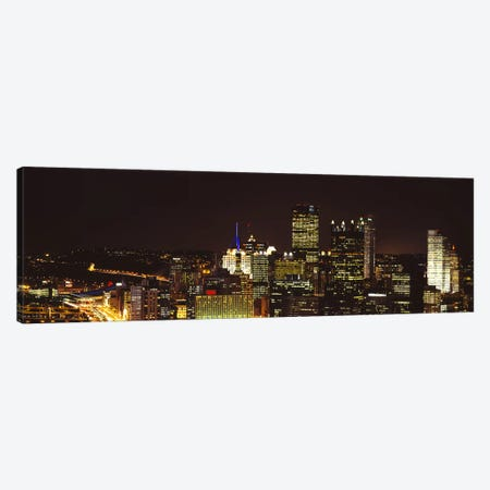 Buildings lit up at night in a cityPittsburgh Pennsylvania, USA Canvas Print #PIM6057} by Panoramic Images Canvas Art