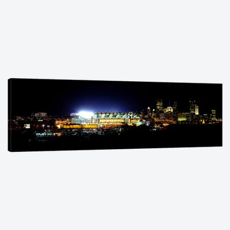 Stadium lit up at night in a cityHeinz Field, Three Rivers Stadium, Pittsburgh, Pennsylvania, USA Canvas Print #PIM6059} by Panoramic Images Canvas Print