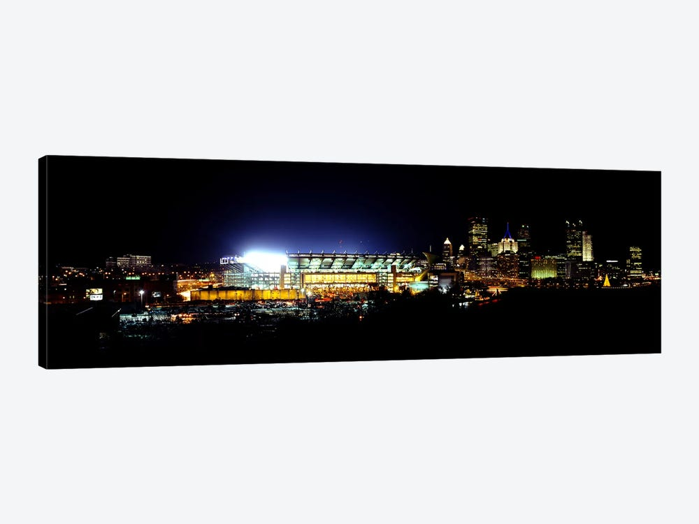 Stadium lit up at night in a cityHeinz Field, Three Rivers Stadium, Pittsburgh, Pennsylvania, USA 1-piece Canvas Art