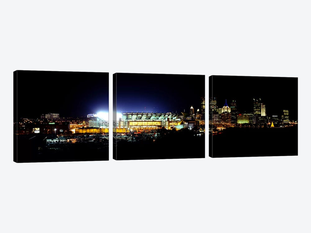 Stadium lit up at night in a cityHeinz Field, Three Rivers Stadium, Pittsburgh, Pennsylvania, USA 3-piece Canvas Wall Art