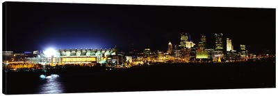 Stadium lit up at night in a cityHeinz Field, Three Rivers Stadium,Pittsburgh, Pennsylvania, USA Canvas Art Print