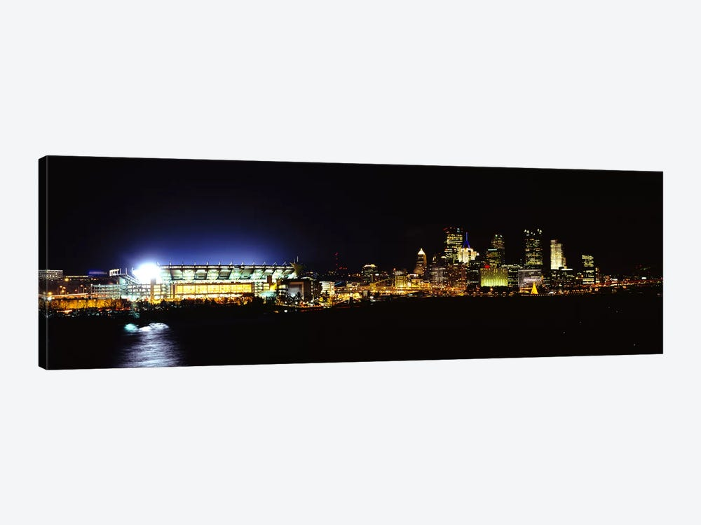 Stadium lit up at night in a cityHeinz Field, Three Rivers Stadium,Pittsburgh, Pennsylvania, USA by Panoramic Images 1-piece Canvas Artwork