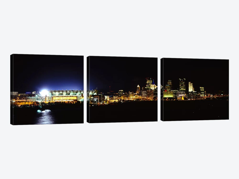 Stadium lit up at night in a cityHeinz Field, Three Rivers Stadium,Pittsburgh, Pennsylvania, USA by Panoramic Images 3-piece Canvas Wall Art