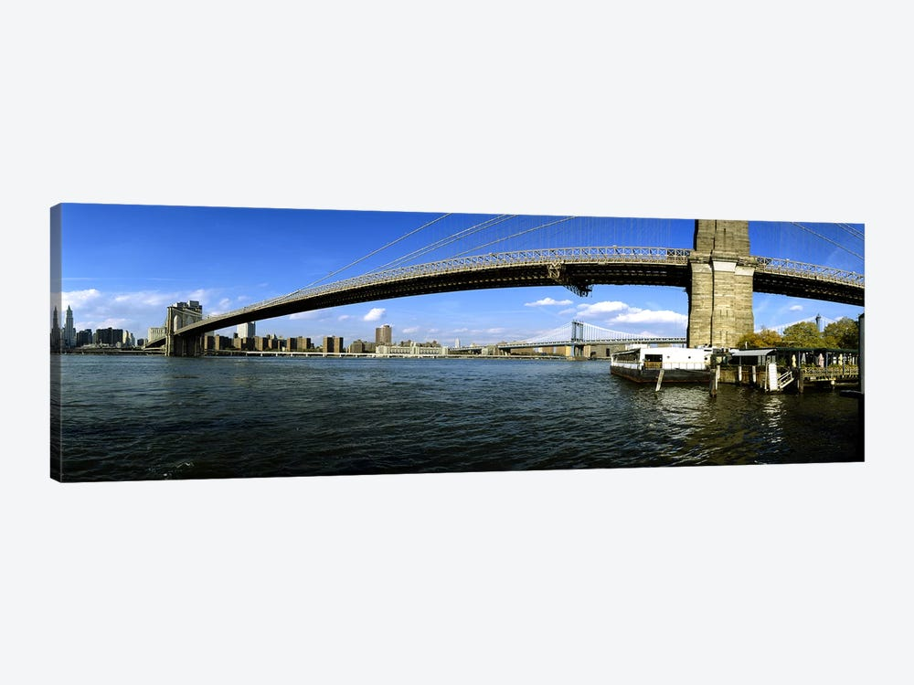 Suspension bridge across a riverBrooklyn Bridge, East River, Manhattan, New York City, New York State, USA by Panoramic Images 1-piece Art Print