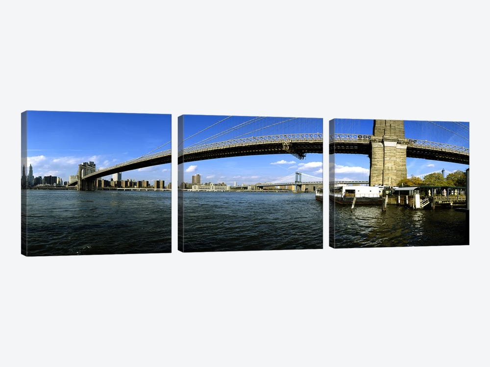 Suspension bridge across a riverBrooklyn Bridge, East River, Manhattan, New York City, New York State, USA by Panoramic Images 3-piece Art Print