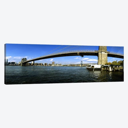Suspension bridge across a riverBrooklyn Bridge, East River, Manhattan, New York City, New York State, USA Canvas Print #PIM6061} by Panoramic Images Canvas Artwork