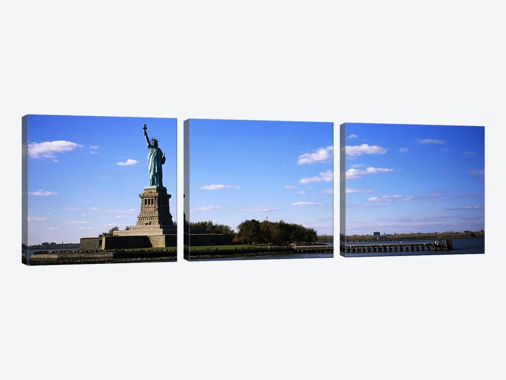 Statue viewed through a ferryStatue of Liberty, Liberty State Park, Liberty Island, New York City, New York State, USA by Panoramic Images 3-piece Canvas Art
