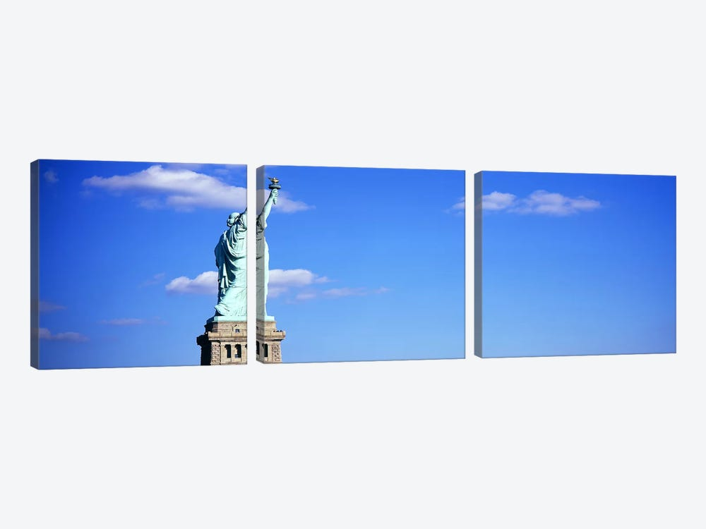 Low angle view of a statueStatue of Liberty, Liberty State Park, Liberty Island, New York City, New York State, USA by Panoramic Images 3-piece Canvas Art Print