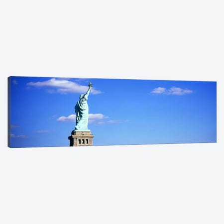 Low angle view of a statueStatue of Liberty, Liberty State Park, Liberty Island, New York City, New York State, USA 3-Piece Canvas #PIM6065} by Panoramic Images Canvas Print
