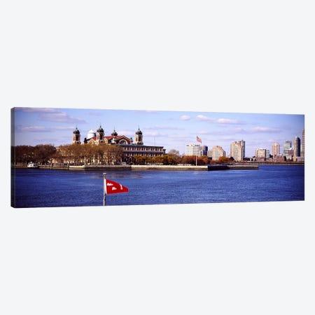 Ellis Island, Upper New York Bay 3-Piece Canvas #PIM6066} by Panoramic Images Art Print