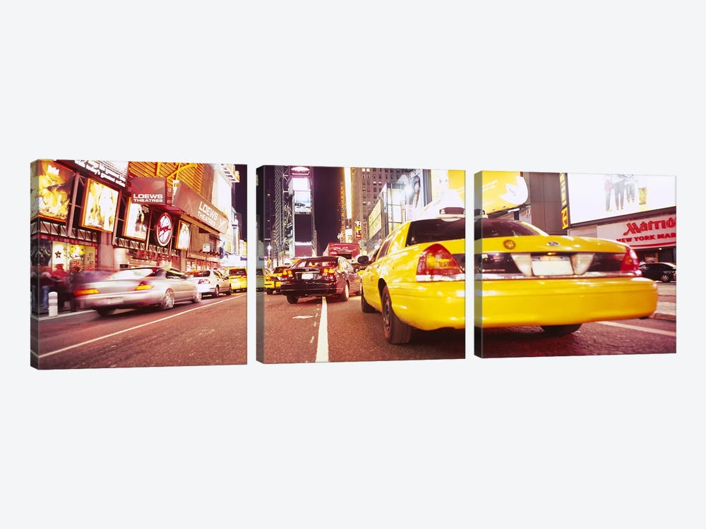 Traffic on the roadTimes Square, Manhattan, New York City, New York State, USA by Panoramic Images 3-piece Canvas Print